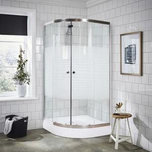 Duşakabin 80 x 80 cm Oval Çizgili Desen Duş Teknesiz