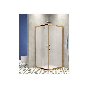 Duşakabin 80 x 80 Altın Profil 5mm Buzlu Cam - Duş Teknesiz H:180 cm